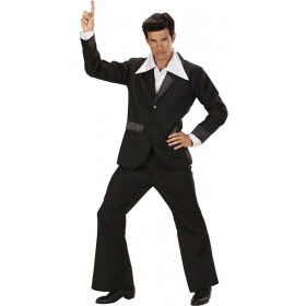 Mens Black Party Suits- (Jacket Pants) Disco Outfit (Black)