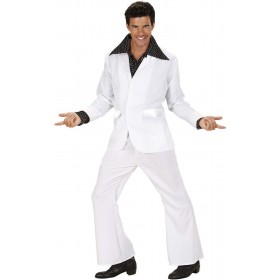 Mens White Party Suits- (Jacket Pants) Disco Outfit (White)