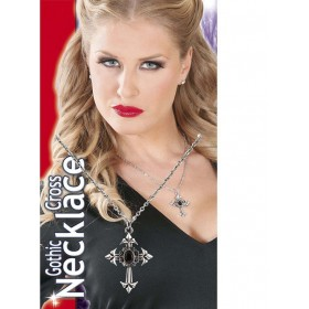 Ladies Gothic Cross Necklace W/Black Gem Jewellery - (Silver)