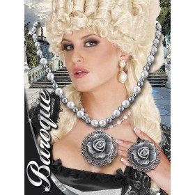 Ladies Baroque Pearls Necklace W/Cameo Rose Jewellery - (White)