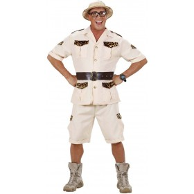 Mens Safari Man (Shirt Shorts Belt) Safari Outfit - (Beige)