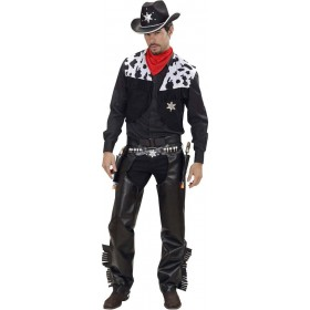 Mens Cowboy- (Vest Chaps Belt Bandana) Cowboys/Native Americans (Black)