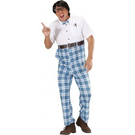 Mens Nerd- (Jumpsuit W/ Bow Tie Belt) Nerd Outfit - Chest 40-42 (White, Blue)
