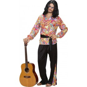 Mens Hippie Dude- (Shirt Pants Belt) Hippy Outfit (Multicolour)