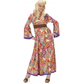 Ladies Hippie Woman- (Dress) Hippy Outfit - (Multicolour)