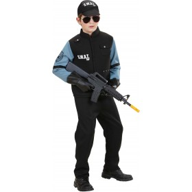 Boys Swat (Shirt W/Vest Pants Cap) Cops/Robbers Outfit - (Black)