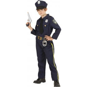 Boys Policeman (Shirt W/Tie Pants Hat) Cops/Robbers - (Blue)