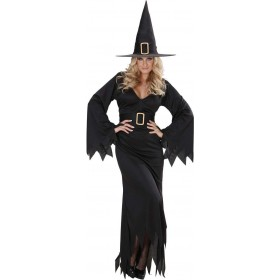 Ladies Elegant Witch- (Dress Belt Hat) Halloween Outfit - (Black)