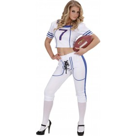 Ladies American Football Girl- (Top Pants) Sport Outfit - (White)