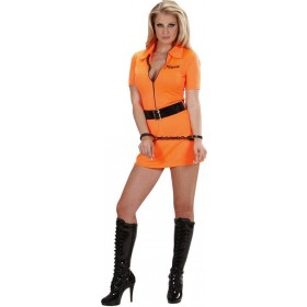 Ladies Guilty Inmate Costume Cops/Robbers Outfit - (Orange)