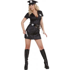 Ladies Police Girl- (Hat Dress Belt) Cops/Robbers Outfit - (Black)