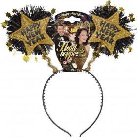 Gold Happy New Year Head Boppers Accessories - (Gold)