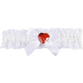Ladies White Garter W/Red Gem Accessories - (Red)