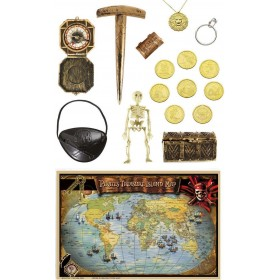 Deluxe Pirate Acc. Kit - Map Chest Coins Compass Jewelery Accessories