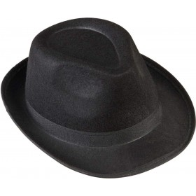 Black Gangster Hat Felt Hats - (Black)