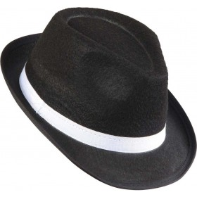 Adult Unisex Gangster Hat Felt Black W/White Band Hats - (White)