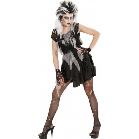 Ladies Zombie Punk- (Dress Mesh Shirt Gloves) Halloween - (Black)