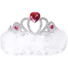 Girls Night Out Tiara - White Marabou Hats - (White)