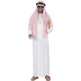 Mens Arab Sheik- (Robe Headpiece) Arab Outfit - (White)