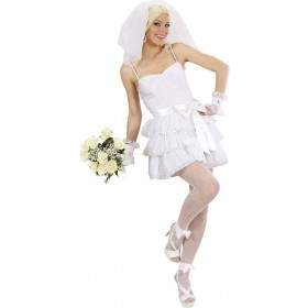 Ladies Bride- (Top Skirt Belt Cuffs Veil) Bride Outfit - (White)