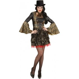 Ladies Gothic Vampiress- (Dress Jabot) Halloween Outfit - (Green)