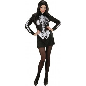 Ladies Skeleton Girl- (Dress) Halloween Outfit - (Black)