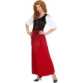 Ladies Tavern Wench- (Dress) Pirates Outfit - (Black, Red, White)