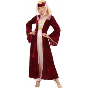 Ladies Medieval Queen- (Dress Crown W/Veil) Medieval Outfit - (Red)