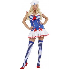 Ladies Sailor Girl- (Dress Hat) Sailor Outfit - (Blue, White)