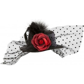 Black Mini Top Hat W/ Rose Tulle & Feathers Hats