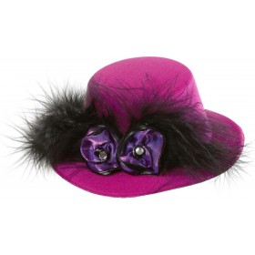 Pink Mini Top Hats W/ Purple Roses Hats