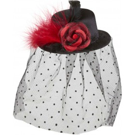 Black Mini Top Hats W/ Rose Tulle Veil Hats