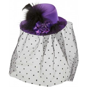Purple Mini Top Hats W/ Rose Tulle Veil Hats