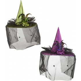 Witch Hats W/Veil Flower & Feathers (Green/Purple) Hats