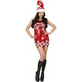 Ladies Sequin Dress Merry Christmas Christmas Outfit - (Red)