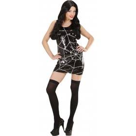 Ladies Sequin Dress Spiderweb & Spider Halloween Outfit - (Black)