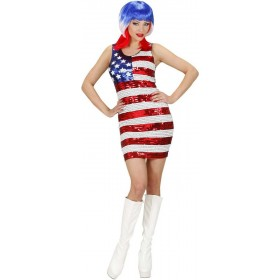 Ladies Sequin Dress Miss Usa Outfit - (Red, White, Blue)