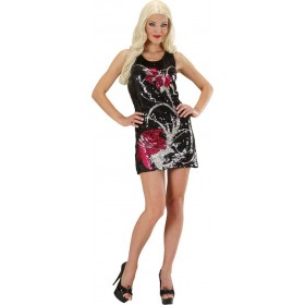 Ladies Sequin Dress Flowers Outfit - (Black)