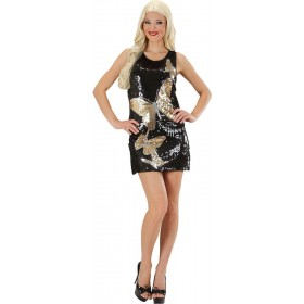 Ladies Sequin Dress Butterflies Animal Outfit - (Black)