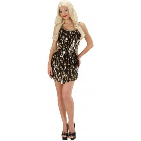 Ladies Sequin Dress - Black/Gold Outfit - (Black, Gold)