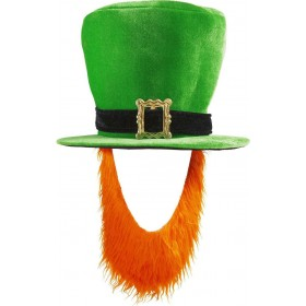 Green Irish Topper Hat W/Red Beard Hats - (Green)