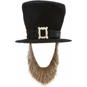 Black Irish Topper Hat W/Brown Beard Hats