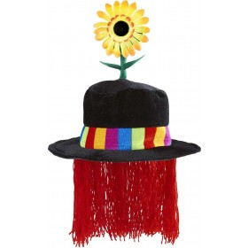 Velvet Clown Hat W/ Sunflower & Hair Hats