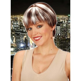 Chanel Wig W/Skin Net Brown Streaked Blonde Fancy Dress