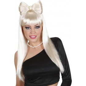Ladies Glam Rock Wig W/Bow - Blonde Wigs - (Blond)