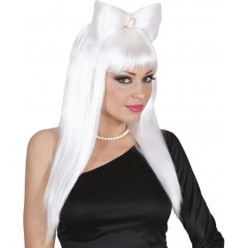 Ladies Glam Rock Wig W/Bow - White Wigs - (White)
