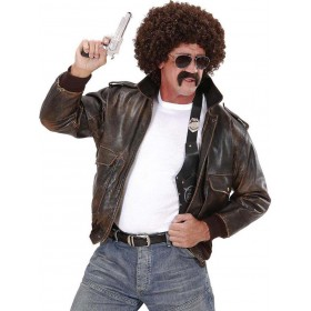 Mens Undercover Agent Wig - Brown Curly Wigs - (Black)