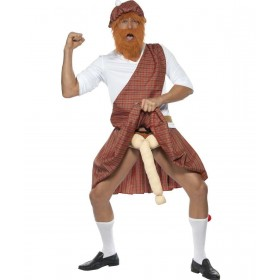 Mens Well Hung Highlander Costume Party Outfit (Red)