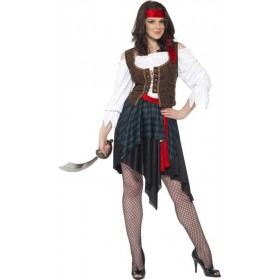 Ladies Pirate Lady Costume Pirates Outfit (Brown)
