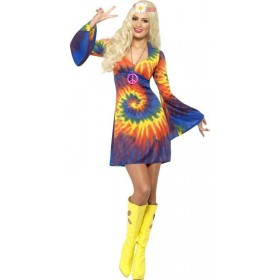 Ladies 1960S Tie Dye Costume Hippy Outfit (Multicolour)